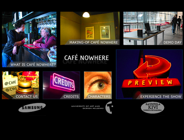 Screen shot of Cafe Nowhere, 2003.