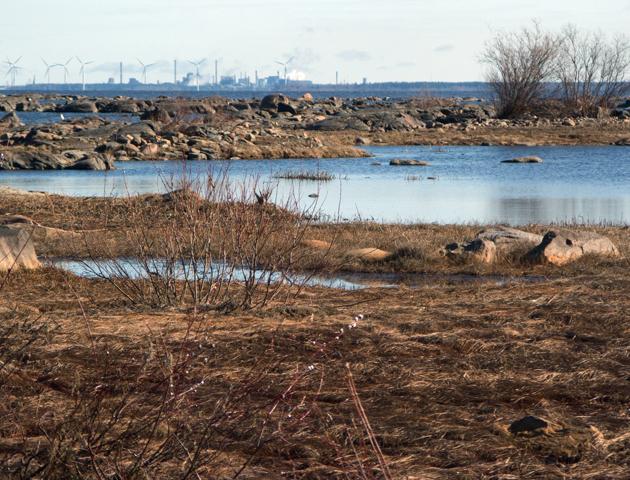 View from Hanhikivi towards Rautaruukki steel factory, 2012.