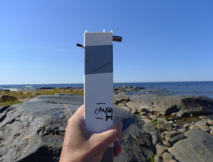 Self-made geiger counter at Hanhikivi Cape. Photo by Martin Howse.