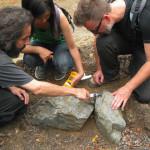 Martin, Ryoko and Erich detecting radiation in closed Lampinsaari mine.