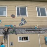 Mural painting workshop at Valikkari.