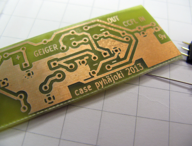 Circuit board for DIY geiger counter.